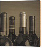 Wine Bottles Wood Print by Diane Diederich