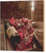 Wine By Candle Light I Wood Print