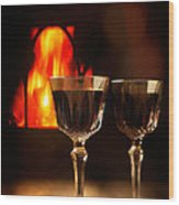 Wine By The Fire Wood Print
