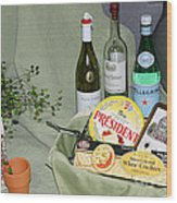 Wine Cheese And Crackers Wood Print