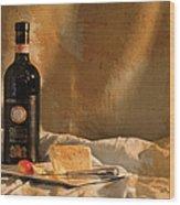 Wine Cherries And Cheese Wood Print