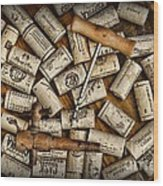 Wine Corks On A Wooden Barrel Wood Print