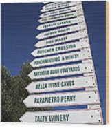 Wine Country Signs Wood Print