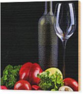 Wine For A Salad Wood Print by Elaine Plesser