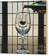 Wine For Three Wood Print by John Debar