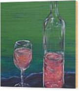 Wine Glass And Bottle Wood Print