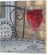 Wine Glass On Table Al Fresco Wood Print by Fizzy Image