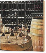 Wine Glasses And Barrels Wood Print by Elena Elisseeva