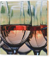 Wine Glasses Filled With Mount Hood Wood Print