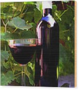 Wine In The Sunset Wood Print by Elaine Plesser