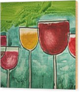 Wine Party Wood Print