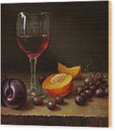 Wine Peach And Plums Wood Print by Timothy Jones
