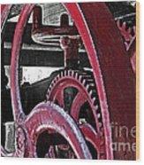Wine Press Gears Wood Print