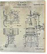 Wine Press Patent 1903 Wood Print