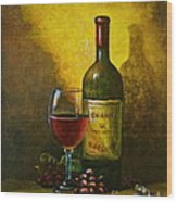 Wine Shadow Ombra Di Vino Wood Print by Italian Art