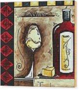 Wine Tasting Original Madart Painting Wood Print