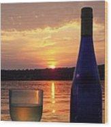 Wine Water Sunset Wood Print