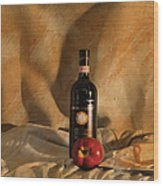 Wine With An Apple And Cheese Wood Print