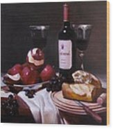 Wine With Peeled Apples Wood Print