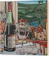 Wine With River View Wood Print by Anthony Mezza