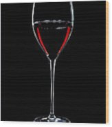 Wineglass Filled With Red Wine Silhouette Wood Print by Alex Sukonkin