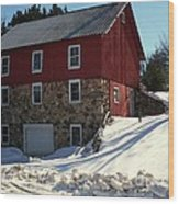 Winery Barn In Winter Wood Print by Desiree Paquette