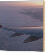 Wing Of An Aeroplane With Sunset Wood Print