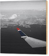 Wing Tip View Over Long Beach Ca Sc Wood Print