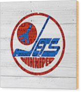 Winnipeg Jets Retro Hockey Team Logo Recycled Manitoba Canada License Plate Art Wood Print