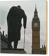 Winston Churchill Facing Big Ben Wood Print