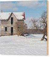 Winter Abandoned Farmouse Wood Print