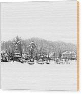 Winter And Fog At The Lake Wood Print