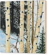 Winter Aspens Wood Print
