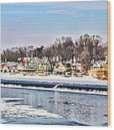 Winter At Boathouse Row In Philadelphia Wood Print