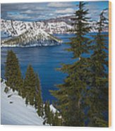 Winter At Crater Lake Wood Print
