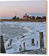 Winter At East Point Lighthouse  Wood Print