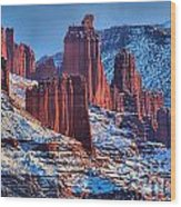 Winter At Fisher Towers Wood Print