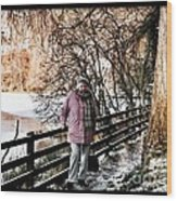 Winter At Frozen Lochside Wood Print
