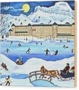 Winter At Lake Louise Chateau Wood Print