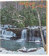 Winter At Mash Fork Falls Wood Print