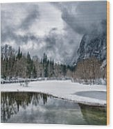 Winter At Swinging Bridge Wood Print