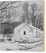 Winter At The Amish Schoolhouse - Bw Wood Print