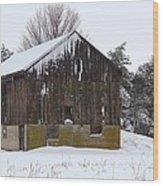 Winter At The Barn Wood Print