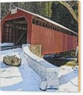 Winter At The Little Gap Covered Bridge Wood Print