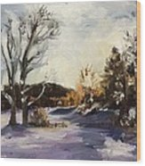 Winter At The River House Wood Print