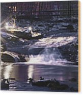Winter At The Woodlands Waterfall In Wilkes Barre Wood Print