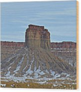 Winter Banded Butte Wood Print