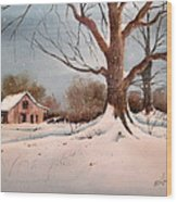 Winter Barn # 5 Wood Print