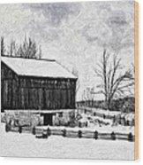 Winter Barn Impasto Version Wood Print