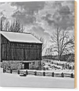 Winter Barn Monochrome Wood Print